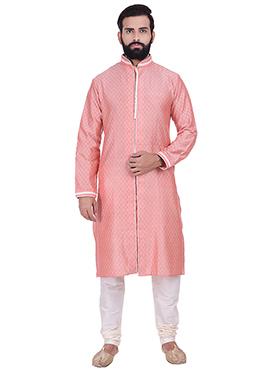Pink Benarasi Jacquard Cotton Silk Kurta Pyjama