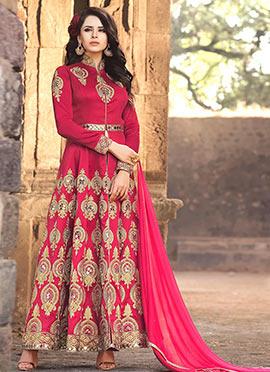 Pink Benarasi Silk Abaya Style Anarkali Suit