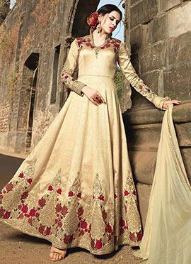 Beige Benarasi Silk Abaya Style Anarkali Suit