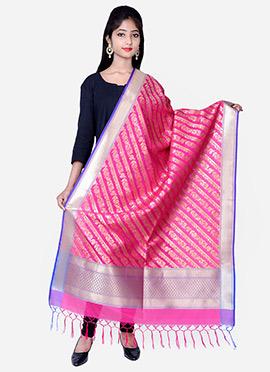 Pink Benarasi Silk Dupatta