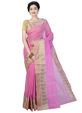 Pink Bengal Handloom Cotton Saree