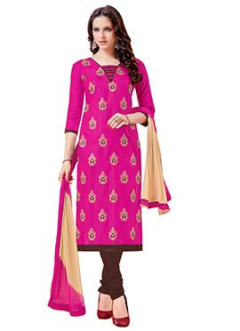 Pink Bhagalpuri Art Silk Churidar Suit