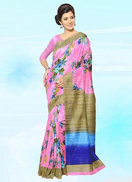 Pink Bhagalpuri Art Silk Saree