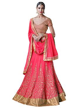 Pink Bhagalpuri Silk A Line Lehenga Choli