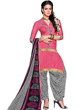 Pink Blended Cotton Churidar Suit