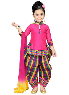 Pink Blended Cotton Kids Patiala Suit