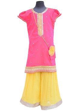 Fayon Pink Blended Cotton Kids Salwar Kameez