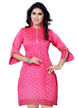 Pink Blended Cotton Kurti