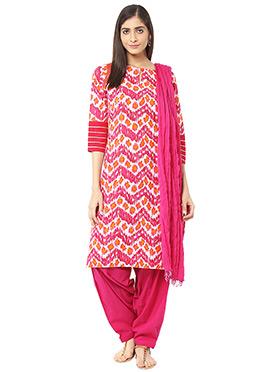 Pink Blended Cotton Salwar Suit