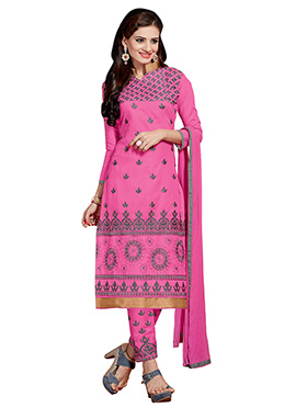 Pink Blended Cotton Straight Pant Suit