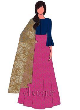 Pink Brocade Abaya Style Anarkali