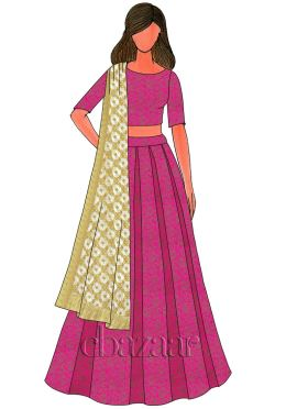 Pink Brocade Box Pleated Lehenga