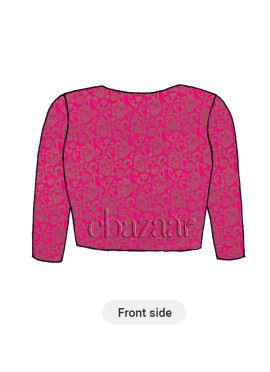 Pink Brocade Close Neck Blouse