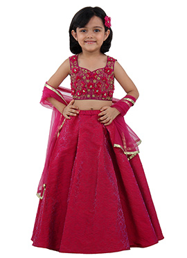 Pink Brocade Net Crystal Flower Kids Lehenga