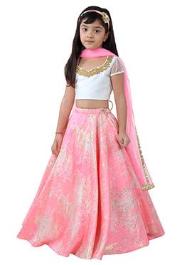 Pink Brocade Net Kids Lehenga