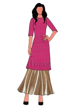 Pink Brocade Palazzo Suit