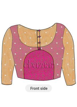 Pink Brocade Paneled Blouse