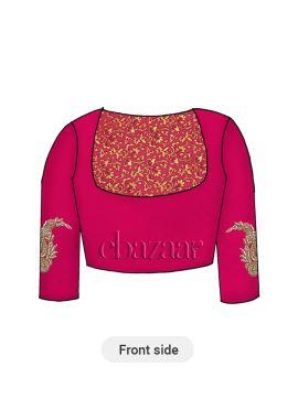 Pink Brocade Yoke Style Blouse