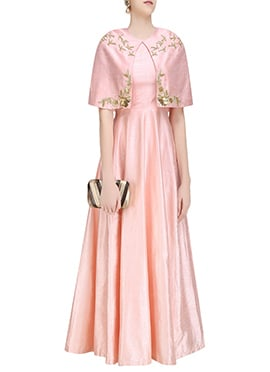 Pink Cape Style Anarkali Gown