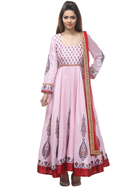 Pink Chanderi Anarkali Suit