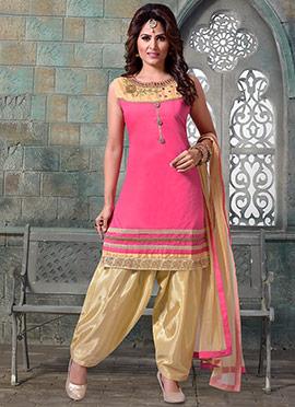 Pink Chanderi Art Silk Salwar Suit