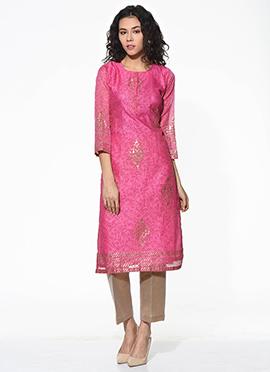 Pink Chanderi Blended Cotton Kurti