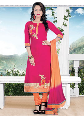 Pink Chanderi Cotton Churidar Suit