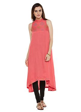 Pink Chanderi Cotton Kurti