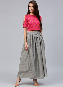 Pink Chanderi Cotton Skirt Set