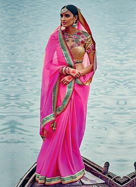 Pink Chiffon Border Saree