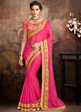Pink Chiffon Embroidered Saree