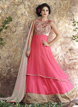 Pink Chiffon Net Anarkali Suit
