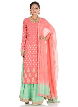 Pink Chiffon Palazzo Suit