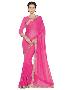 Pink chiffon Saree