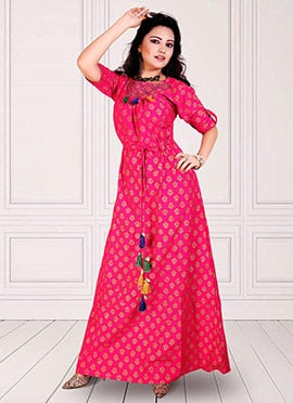 Pink Cotton Anarkali Suit