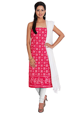 Pink Cotton Churidar Suit
