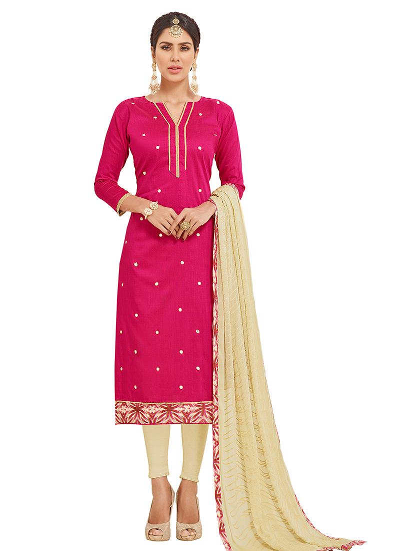 27a41761fd Buy Pink Cotton Churidar Suit, Tikki Work, churidar suit Online ...