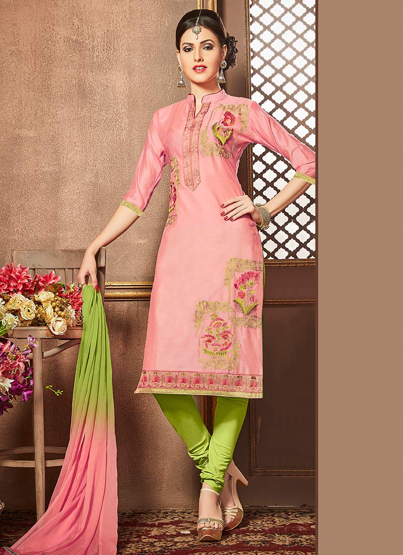 06533ab484 Buy Pink Cotton Churidar Suit, Embroidered, churidar suit Online ...