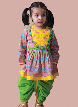 Pink Cotton Girls Angrakha Dhoti Set