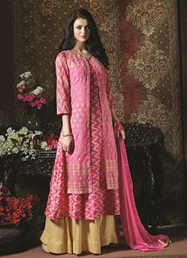 Pink Cotton Jacket Style Palazzo Suit