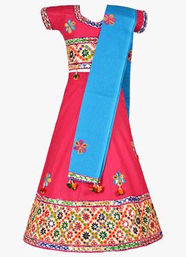 Pink Cotton Kids Chaniya Choli Set