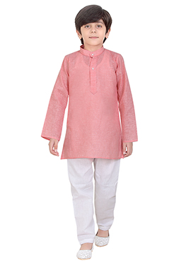 Pink Cotton Kids Kurta Pyjama
