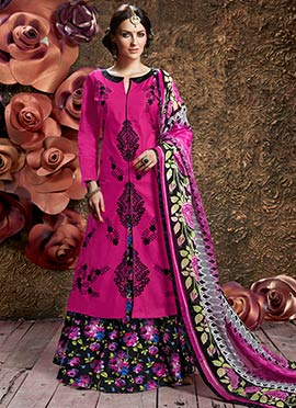 Pink Cotton Long Choli A Line Lehenga