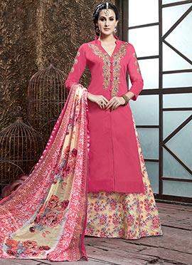 Pink Cotton Long Choli A Line Lehenga