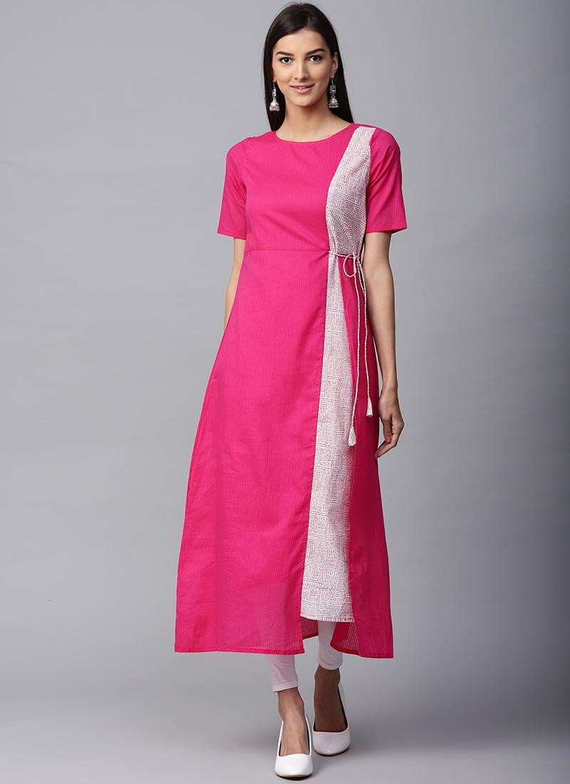 8368680ce1 Buy Pink Cotton Long Kurti, Printed, long kurti Online Shopping ...