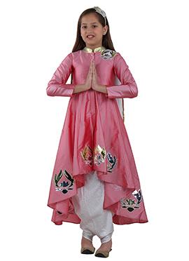 Pink Cotton Net Kids Lehenga