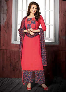 Pink Cotton Palazzo Suit