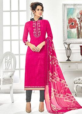 Pink Cotton Rayon Churidar Suit