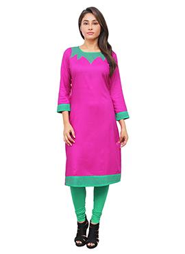 Pink Cotton Rayon Kurti