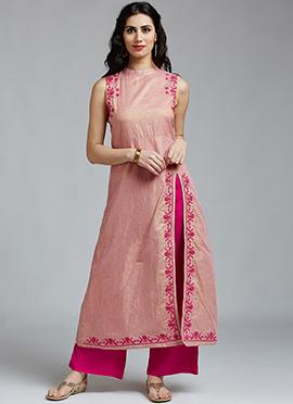Pink Cotton Rayon Palazzo Suit